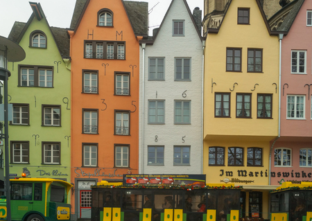 colorful houses in the old city Cologne Editorial