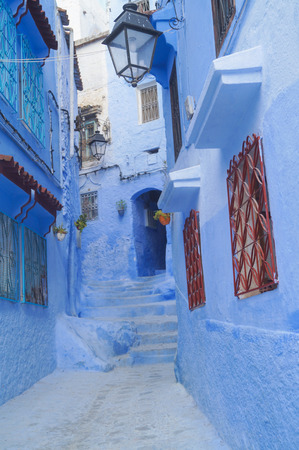 The Blue city - Chefchaouen, MoroccoHouses in famous Blue city Chefchaouen Stock Photo