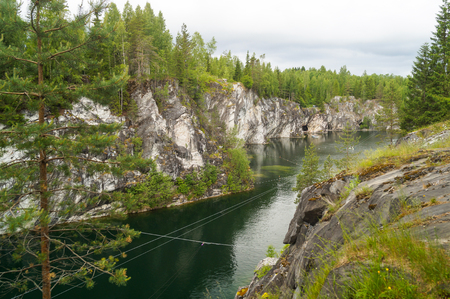 Marble quarry in Ruskeala Park in Republic of Karelia