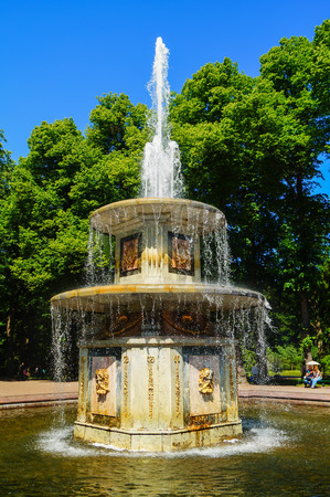 PETERGOF, RUSSIA - July 12, 2017: Fountain in Pertergof or Peterhof, known as Petrodvorets from 1944 to 1997. The Peterhof Palace included in the UNESCOs World Heritage List