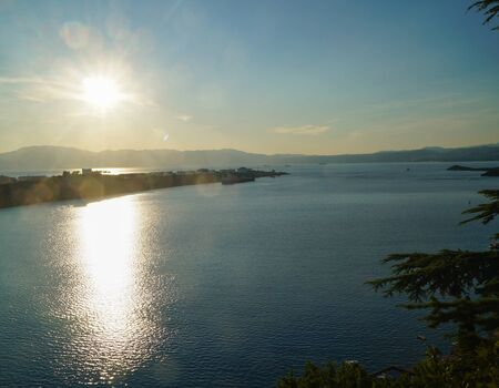 A beautiful Croatian coastal sunset overlooking the Adriatic Sea.
