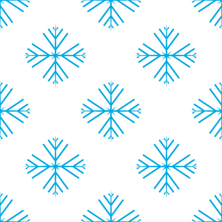 Vector illustration. Seamless pattern of Snowflakes. Blue Snowflakes on white background. Illustration
