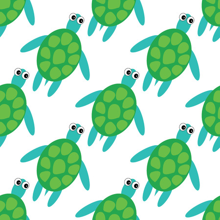 Sea turtle icon. Vector illustration. Cartoon style. Seamless pattern