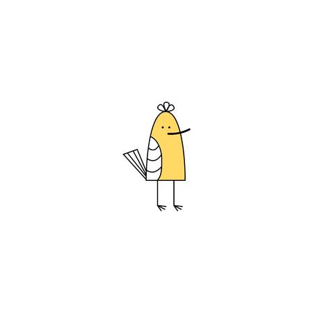 Vector illustration. small baby bird. yellow sandpiper.