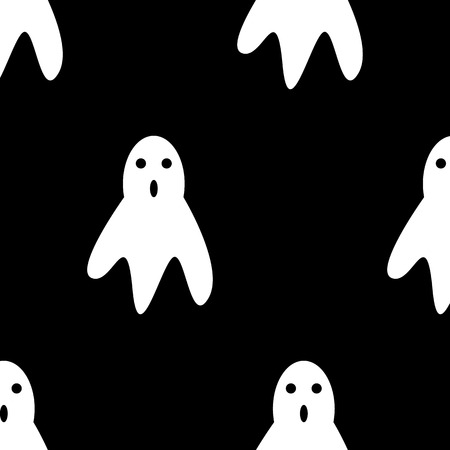 Seamless pattern. Vector Illustration and cartoon on dark background : Whisper Ghost cover fabric white. Ghost character Costume evil or Character creepy funny cute. Party celebrate Halloween night holiday.