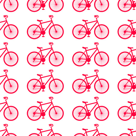 Vector illustration. Seamless pattern with bikes on white background.