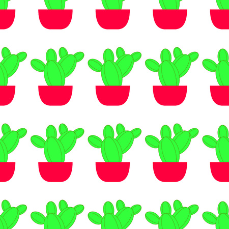 Vector seamless pattern with cactus. Bright repeated texture with green cactus in flower pot. Natural background with desert plants.