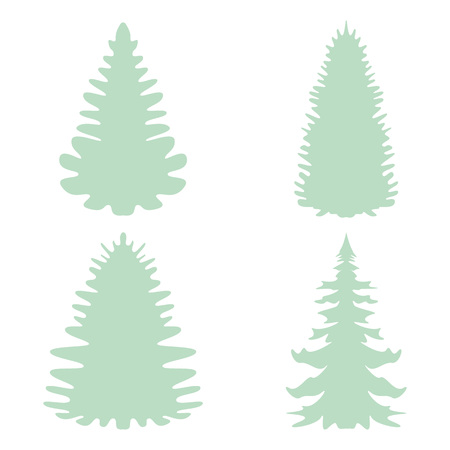 Setof Silhouettes of fir-trees in vector format.Vector illustration. Christmas trees. 向量圖像