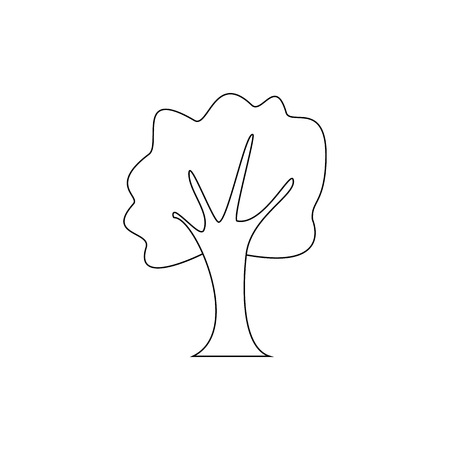 Vector illustration. Line oak tree isolated on white background.