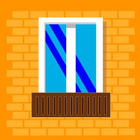 window frame view isolated on brick house wall . Detailed plastic window with balcony. Architecture design outdoor or exterior view, building and home theme.