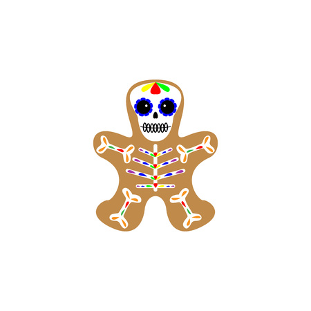 Vector illustration. Gingerbread man decorated colored icing. Holiday cookie in shape of man. Day of the dead cookie. Dia de los muertos icon on white background.