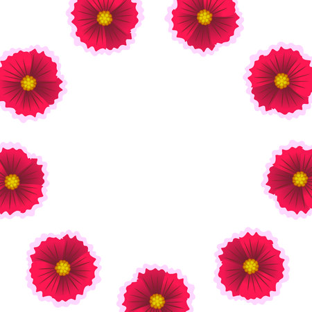 Beautiful flower isolated on white background. Vector illustration. Circle flower pattern. Wreath from the flowers.