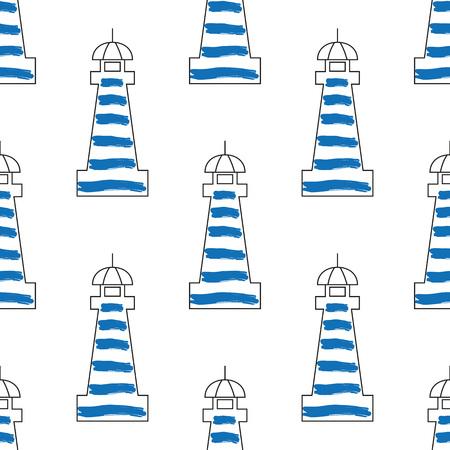 Lighthouse design vector illustration. Seamless lighthouse pattern.