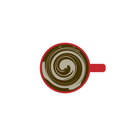Vector coffee art. A cup of cappuccino with pattern. Top view on a Cup of coffee Stock Illustratie