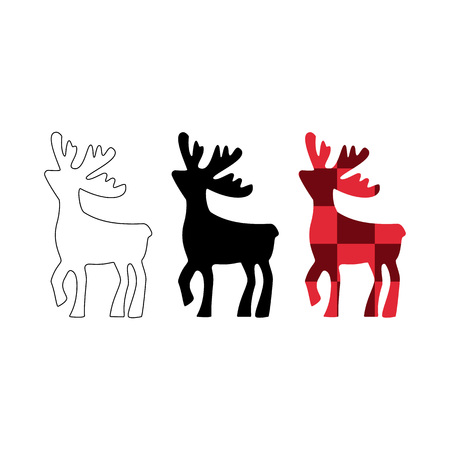deer vector illustration. Deer black, line silhouette icon, in the red cube isolated on white background. Christmas design, emblem, element. Set of different deer