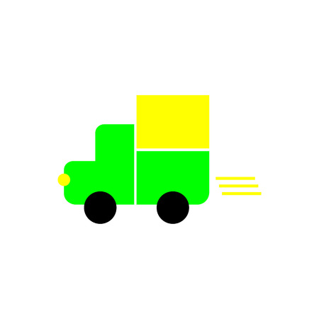 Fast shipping delivery truck flat vector icon for apps and websites Stock Illustratie