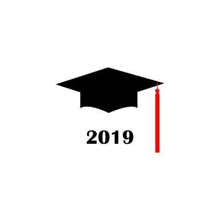 Graduation cap Logo Template Design Elements. Vector illustration isolated on white background.