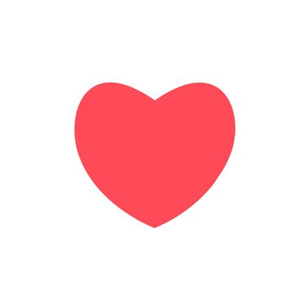 rotes Herz-Design-Symbol flach auf weißem Hintergrund. Vektorgrafik