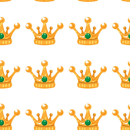 Vector illustration. Seamless pattern of crowns. Gold Crowns with gems.