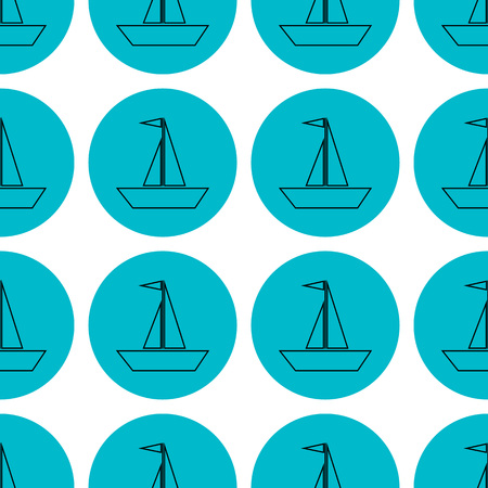 seamless pattern sailing ships icon vector illustration