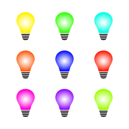 Set of glowing colorful light bulb as inspiration concept. Vector illustration on white background. for cards, garland design, banners, poster.