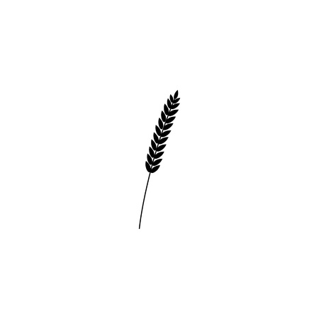 vector illustration of wheat, rye or barley ears whole grain, black silhouette symbol icon isolated on white background. Çizim