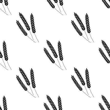 Spighe di grano dell'illustrazione del reticolo senza giunte di vettore. Birra, Oktoberfest, sfondo. Per confezioni da forno, prodotti da forno. Raccolto autunnale. Silhouette Vettoriali