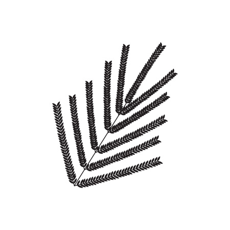 fern silhouette icon. Black isolated print of fern leaf on the white background. Vector illustration.