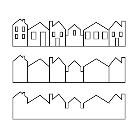Set of line icons representing houses Vector Illustration. House and home simple symbols. Cityscapes.  イラスト・ベクター素材