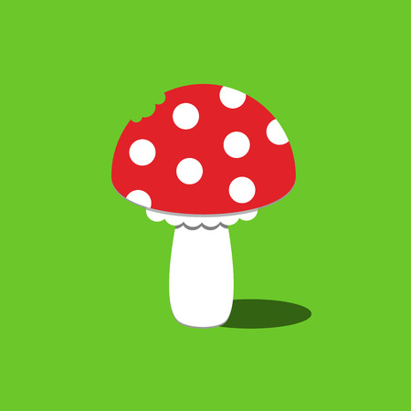 Cartoon Amanita muscaria fly agaric mushroom icon. Wild forest mushrooms in autumn, isolated vector illustration on green background Ilustração