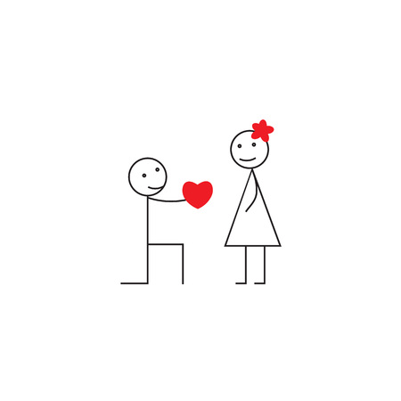 Saint Valentines concept. Young smiling character holding a big pink heart and girl standing with flower on head. Declaration of love. line vector illustration Иллюстрация