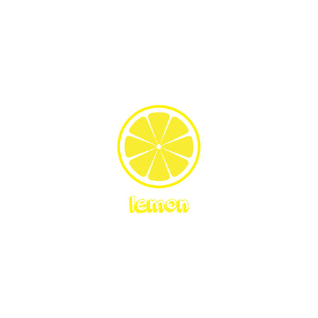 Lemon slice vector icon illustration on white background. Fresh sour vector lemon icon with onscription title. Lemon sign.