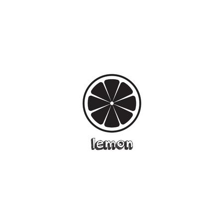 Lemon slice vector icon illustration on white background. Fresh sour vector lemon icon. Lemon sign, symbol, emblem.