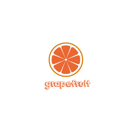 Fresh red grapefruit with inscription title vector illustration on white background