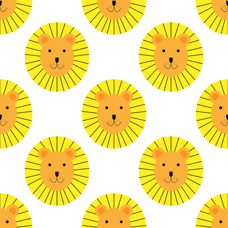 Seamless Pattern with cute lion. Design for children room, child concept, wrapping paper, gift. Vettoriali