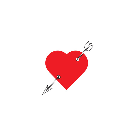 Heart with arrow icon. Valentines day vector icon , Cupid dart pierced to the heart. Arrow of cupid, Love symbol with arrow. Happy Valentines day vector design