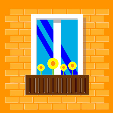 Beautiful bright window with flowers in pots. View outside from the street. Window on brick wall. Vector illustration. Flat style.