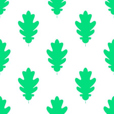 Seamles pattern of silhuette of oak leaves. Flat Icon of oak leaf on white background. Vector illustration. eps 10 Banco de Imagens - 125052842