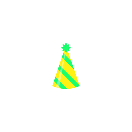 Colorful party hat isolated on white background. Accessory, symbol of the holiday. Birthday Colorful Cap vector illustration. EPS 10.
