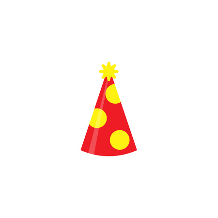 Red party hat isolated on white background. Accessory, symbol of the holiday. Birthday Colorful Cap vector illustration. EPS 10. Imagens - 124849475
