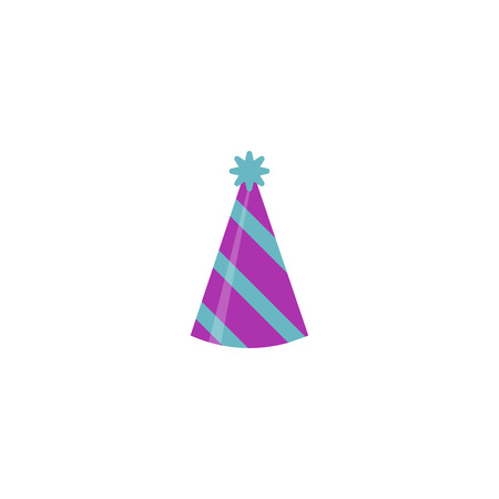 blue party hat isolated on white background. Accessory, symbol of the holiday. Birthday Colorful Cap vector illustration. EPS 10. Imagens - 124849476