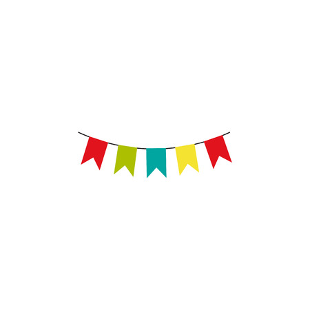 Multicolored bright bunting garland isolated on white background. Design decoration element