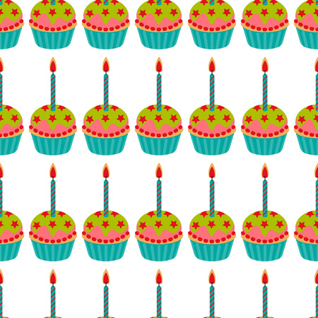 Cupcake with candle seamless pattern. Cake sweet dessert for birthday party, holiday. Vector illustration