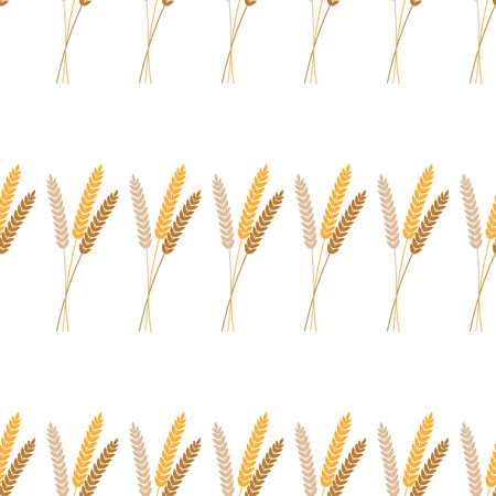 Vector seamless pattern illustration ears of wheat. Beer, oktoberfest, background. For bakery package, bread products. Autumn harvest. wheat, rye or barley ears with whole grain