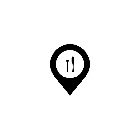Map pointer with restaurant cafe icon. Vector illustration Illustration