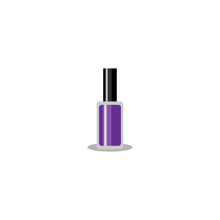 Vector illustration. Violet nail polish bottle with black cap isolated on white background. 向量圖像