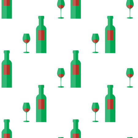 Bottle Of Wine And Glass Seamless Pattern Vector Art Illustration