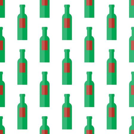 Bottle silhouette, pattern with wine bottles.Vector illustration background bottle. Illustration