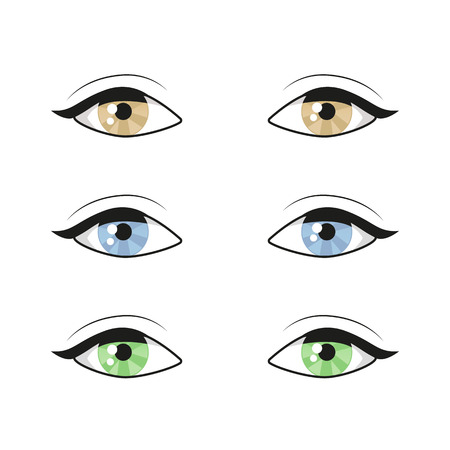 Female woman eyes and brows image collection set. Fashion girl eyes design. Vector illustration. Different color eyes set Banque d'images - 119535776