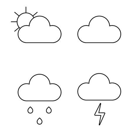 Weather icons line theme Vector illustration on white